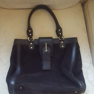 Ann Taylor Dark Brown Suede Tote shoulder bag